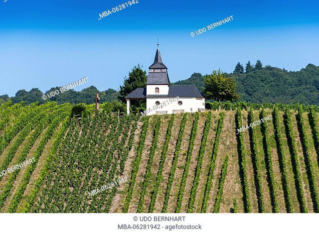 Europe, Germany, Rhineland-Palatinate, district Trier-Saarburg, the Moselle, Mittelmosel, roman wine road, Leiwen, Laurentius chapel in the vineyards on the...