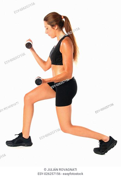 Young woman exercising with dumbbells isolated on white background