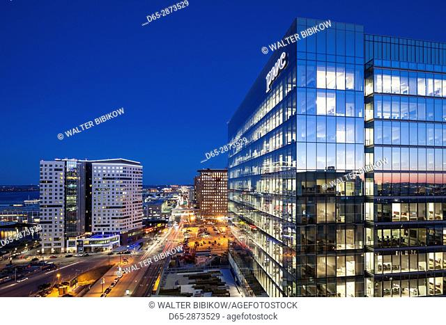 USA, Massachusetts, Boston, elevated view of the new Seaport District, dusk