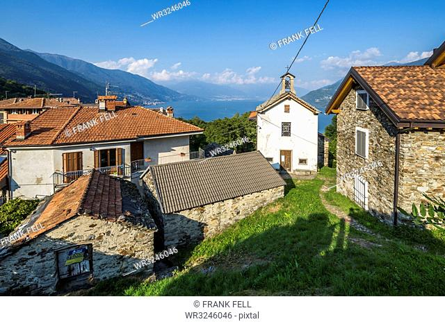 Elevated view of Lake Maggiore from hilltop village near Cannobio, Lake Maggiore, Piedmont, Italian Lakes, Italy, Europe