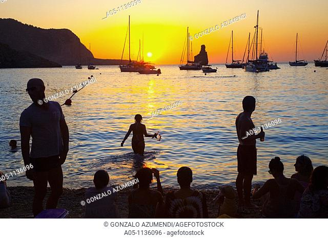 Sunset in Benirras Beach. Ibiza. Balearic Islands. Spain