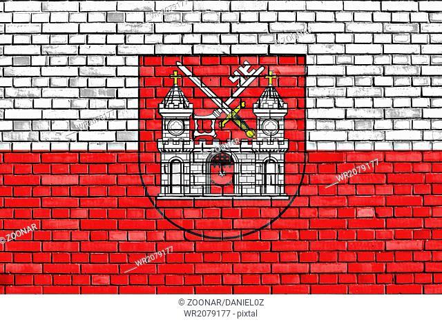 flag of Tartu painted on brick wall