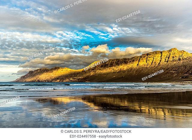 Caleta de Famara beach in Lanzarote, Canary Islands, Spain