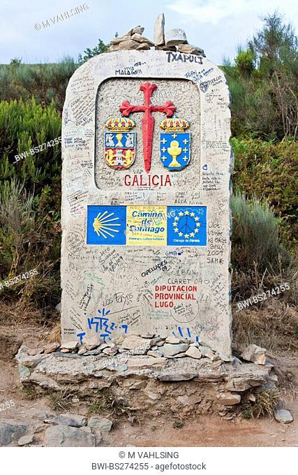 boundary stone at the border of Castile to Galicia, Spain, Galicia, Lugo