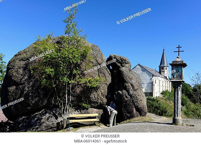 Bucklwehluck'n (Durchkriechstein, the diseases cured), wayside shrine and parish church and pilgrimage church, Austria, Upper Austria, Mühlviertel, St