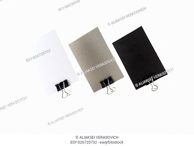 Three blank business card isolated on white