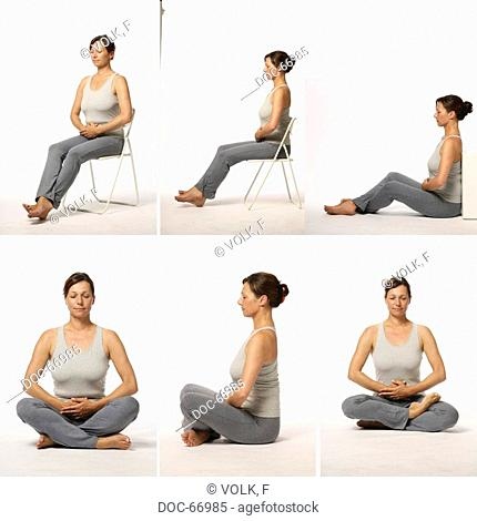Chan Mi Qi Gong - inner harmony through an invigorated back -picture serie - exercise : peace of mind by sitting - Zuo Chan , Xiu Lian - yoga seat lotus sitting