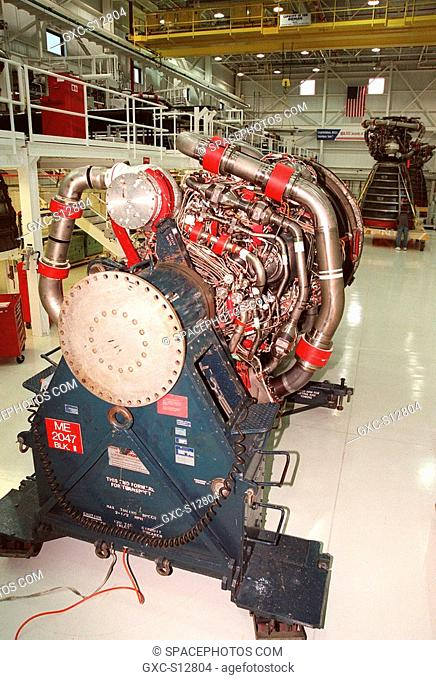 08/17/1998 --- In the Space Shuttle Main Engine Processing Facility SSMEPF, a new Block 2A engine sits on the transport cradle before being moved to the...