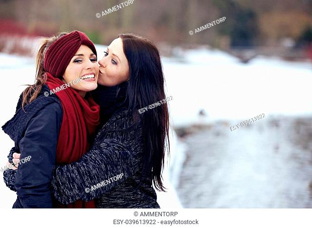 Lesbian couple kissing in the park Stock Photos and Images | age ...