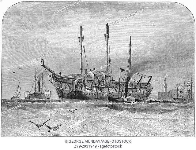 1870: paddle Steamers around the wrecked hull of an old sailing ship, The River Thames, Essex,Southern England