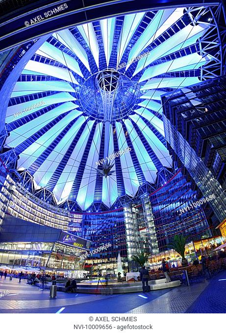 Colorfully illuminated awnings, dome, Sony Center, Festival of Lights, Berlin, Germany, Europe