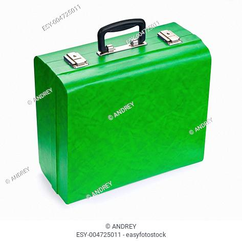 Green suitcase, isolated on white background