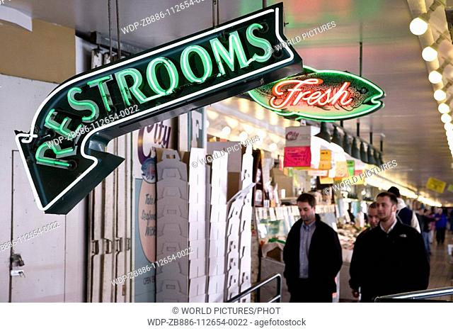 Seattle, Washington State, USA Pike Place Market Ground floor Interior stalls Neon Signs Date: 23 04 2008 Ref: ZB886-112654-0022 COMPULSORY CREDIT: World...