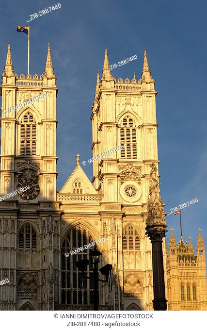 Westminster abbey and Houses Of Parliament at background-compressed perspective, London, England