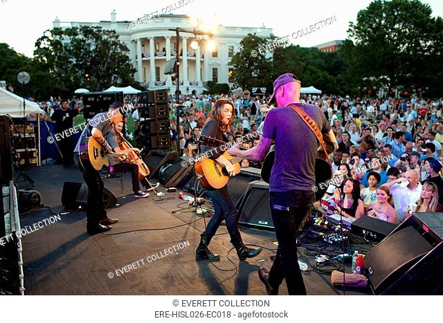 Brandi Carlile and her band perform for military families during the Fourth of July holiday celebration on the South Lawn of the White House July 4 2010