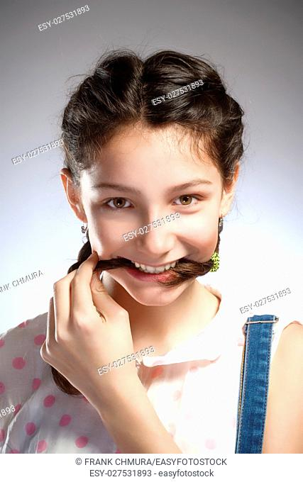 Portrait of a Preadolescent Girl with Biting Brait