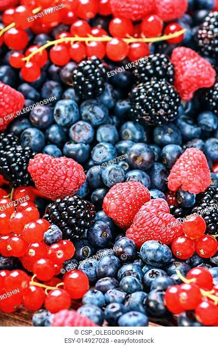 fresh blueberries, currants, blackberries, cranberries