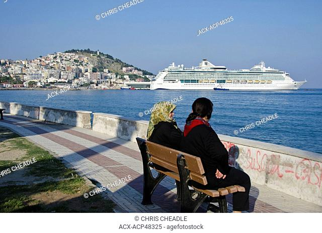 Cruise ship at Kusadasi, a resort town on Turkey's Aegean coast in Aydin Province