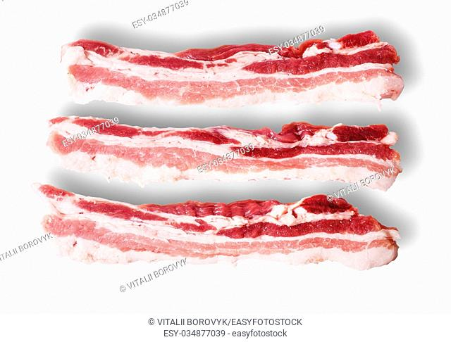 Three pieces of bacon on top view isolated on white background