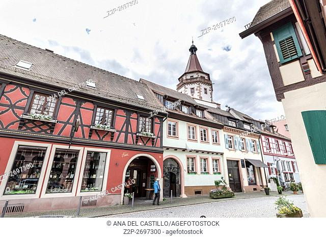 The historic old town in Gengenbach, Black Forest, Baden-Wurttemberg, Germany, Europe on May 15, 2016. The Niggel Tower