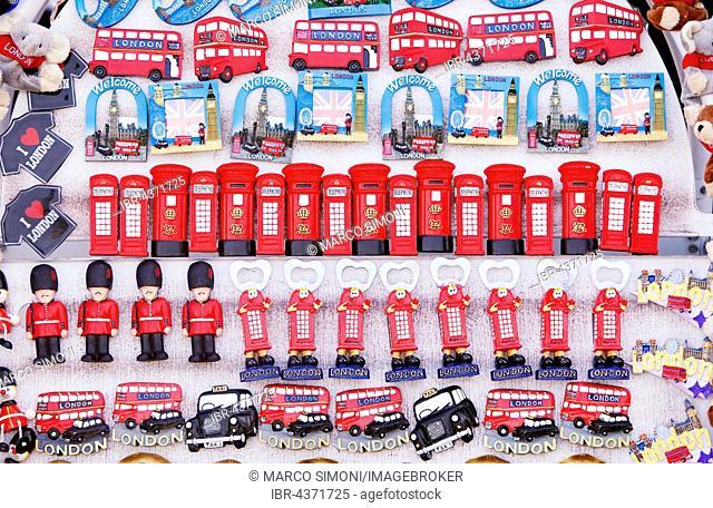 Tourist souvenirs on souvenir stand in London, Great Britain, United Kingdom