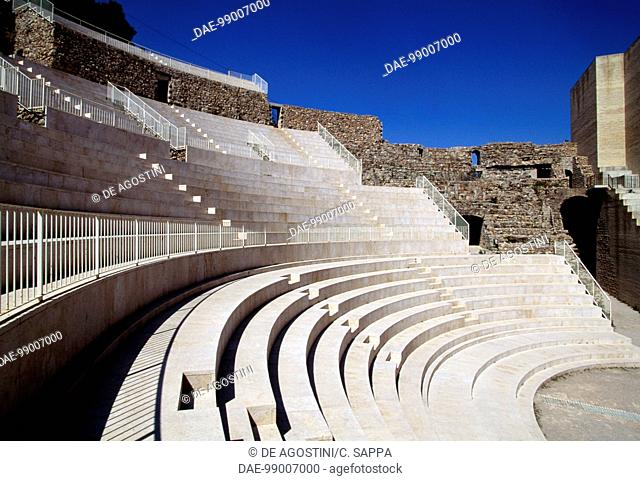 Rows of seats in the reconstructed amphitheatre, Sagunto, Valencia, Spain. Roman civilisation, 3rd century BC