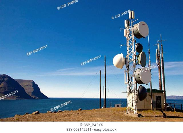 Cell antena on top of the cliff - Iceland