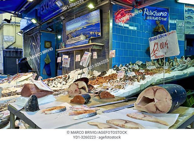 Naples Campania Italy. Fishmonger's at Pignasecca quarter