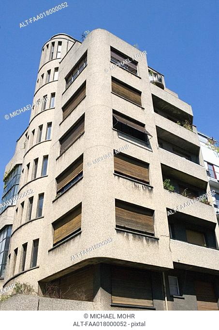 Paris, France, corner apartment building, low angle view