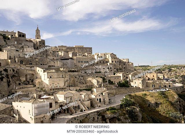 High angle view of ancient town of Matera (Sassi di Matera), Basilicata Region, Italy