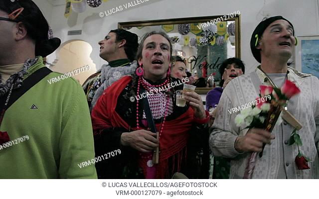 Carnival. Choir of friends that sings in bar to amuse themselves .Cádiz, Andalusia, Spain