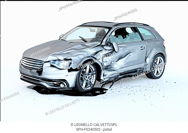 Single car crashed. Silver coupe heavily damaged on a side. Isolated on white background. Perspective view