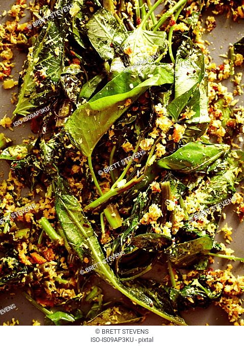 Still life of Sri Lankan spinach and dried spices