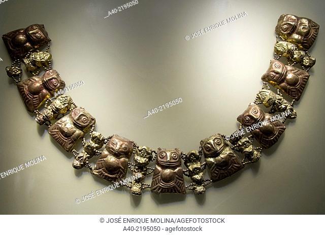 Pre-Columbian Jewelry Lambayeque/Sicán culture 700 AC-1375 AC Perú . Museum of Banco Central de Reserva del Perú. Hugo Cohen collection