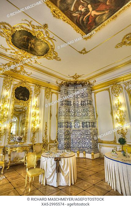 The Cavalier's Dining Room with Tile Furnace, Catherine's Palace, Tsarskoye Selo, Pushkin, UNESCO World Heritage Site, Russia