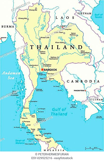 Thailand Political Map with capital Bangkok, national borders, most important cities, rivers and lakes. English labeling and scaling. Illustration