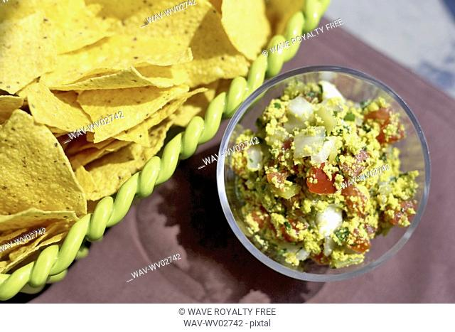 Tortilla chips and dip appetizer, Canada, Ontario