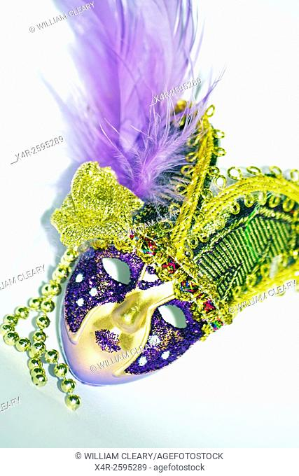 Close-up of a miniature Venetian carnival mask