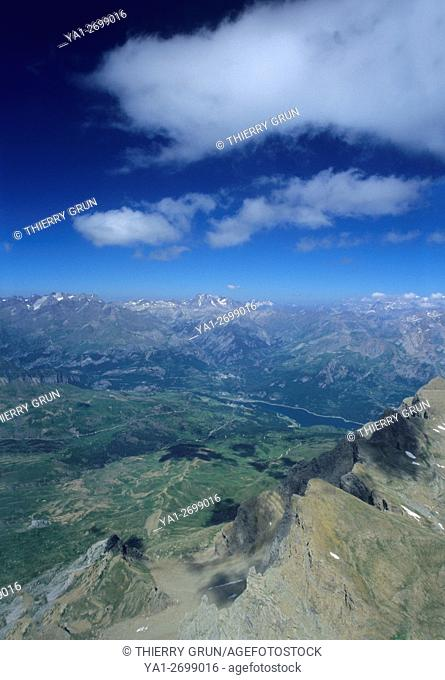 Aerial view from East Pena Retona mountains to Embalse de Bubal lake, Aragon, Spain
