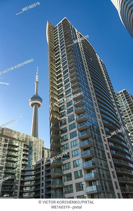 CN Tower and new apartment buildings along Gardiner highway. Toronto, Ontario, Canada