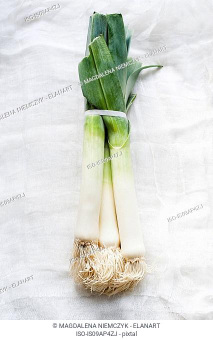 Still life of fresh organic leeks on white cloth