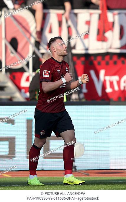 30 March 2019, Bavaria, Nürnberg: Soccer: Bundesliga, 1st FC Nuremberg - FC Augsburg, 27th matchday in Max Morlock Stadium