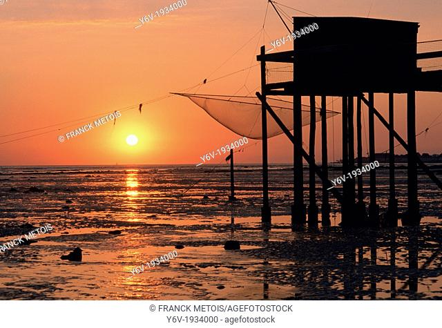 Fishermen huts on stilts. France
