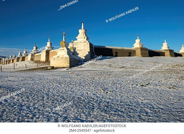 Stupas around Erdene Zuu monastery in Kharakhorum (Karakorum), Mongolia after a snow fall