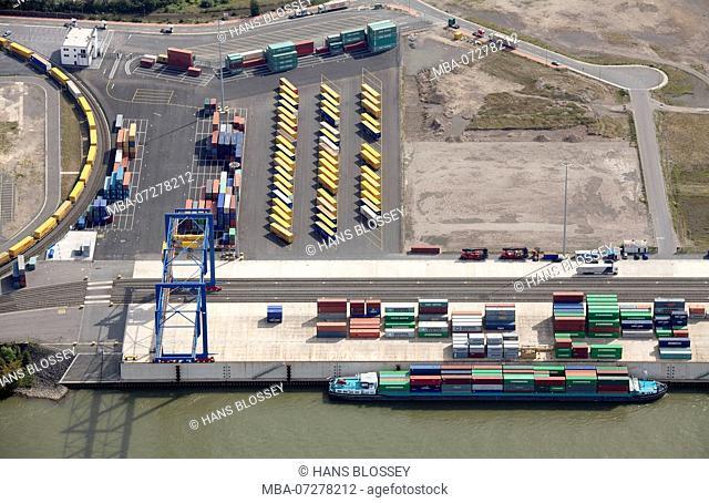 Aerial view, DHL, Logport Logistic Center Duisburg GmbH, Duisburg, Ruhr Area, North Rhine-Westphalia, Germany, Europe