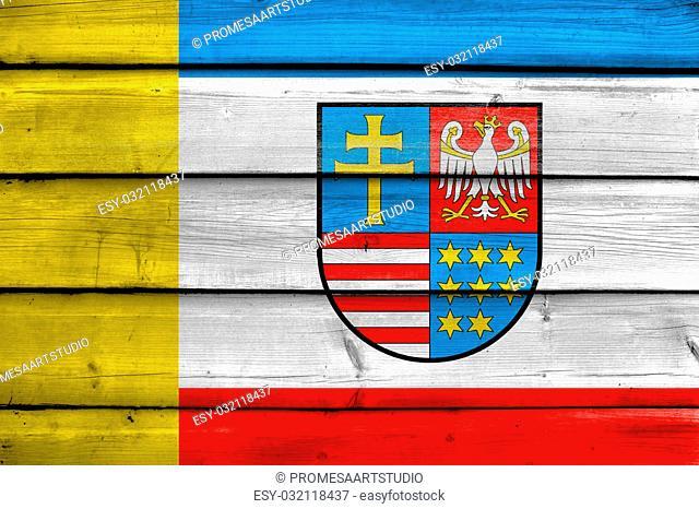 Flag of Swietokrzyskie Voivodeship, Poland, painted on old wood plank background