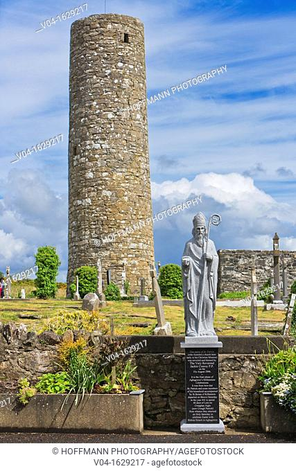 Statue of Saint Patrick and Roundtower, Aghagower, County Mayo, Ireland, Europe