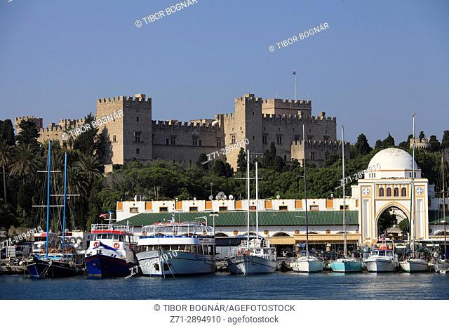 Greece, Dodecanese, Rhodes, Palace of the Grand Masters, New Market, Mandraki Harbour,