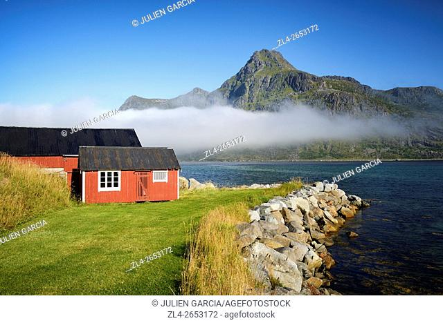 Norway, Nordland, Lofoten islands, Flakstadoy island, Ramberg, Flakstad area, traditional fisherman cabin and fjord