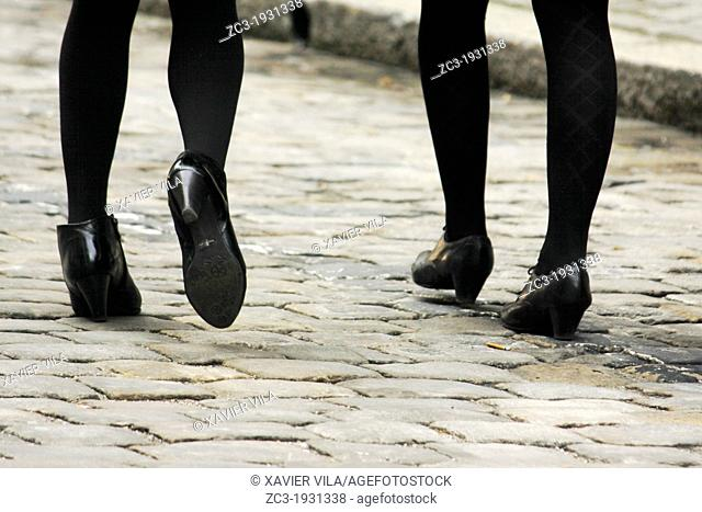 Feet and shoes of young women walking in the street, Geneva, Canton of Geneva, Switzerland
